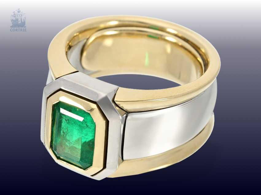Ring: extremely solid and very heavy vintage emerald gold forged ring, estimated production price of approximately 15.000,- DM - photo 2