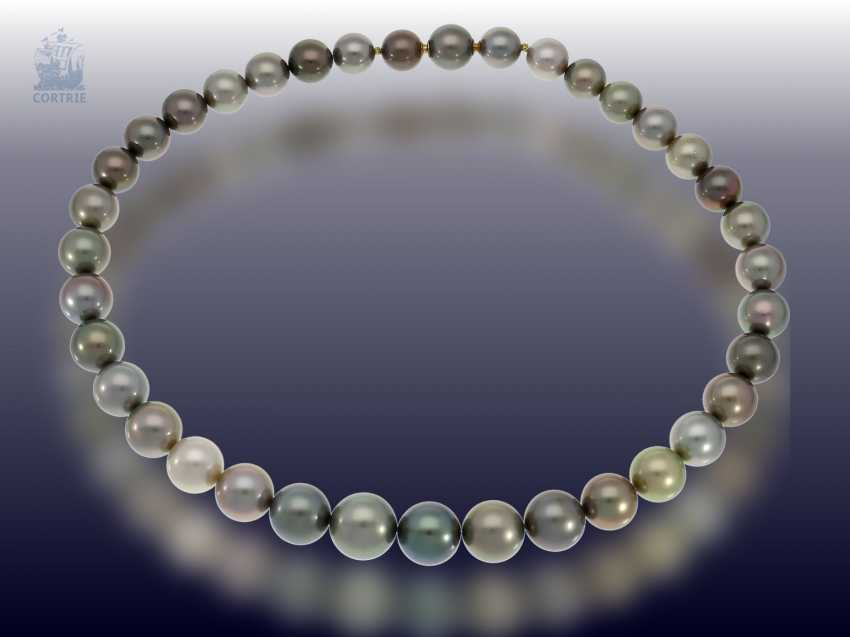 Chain/necklace: high quality Multicolor Tahitian cultured pearl necklace with invisible nittel clasp, in mint condition from a jeweler resolution, NP. 4800€ - photo 1