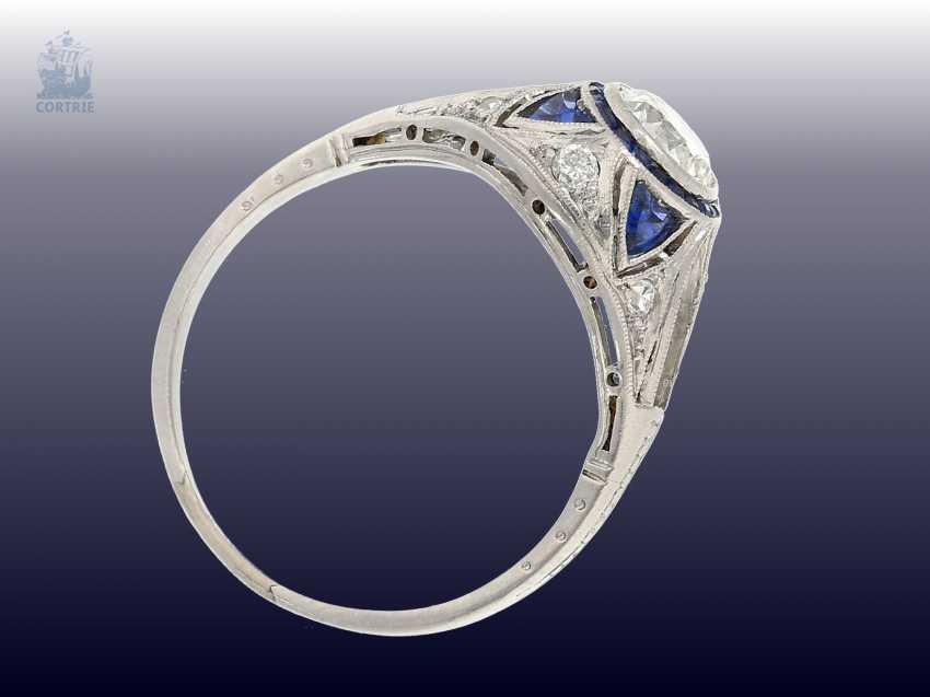 Ring: very beautiful Art Deco sapphire/diamond ring, CA. 1925 - photo 2