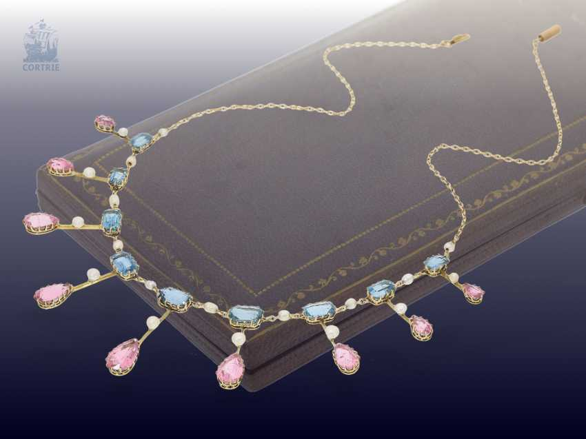 Chain/necklace: extremely fine, antique gold necklace wrought with coloured stones and seed pearls, from the art Nouveau period, Goldsmith & Silversmith Company, the court jeweller, London, CA. 1910 - photo 3