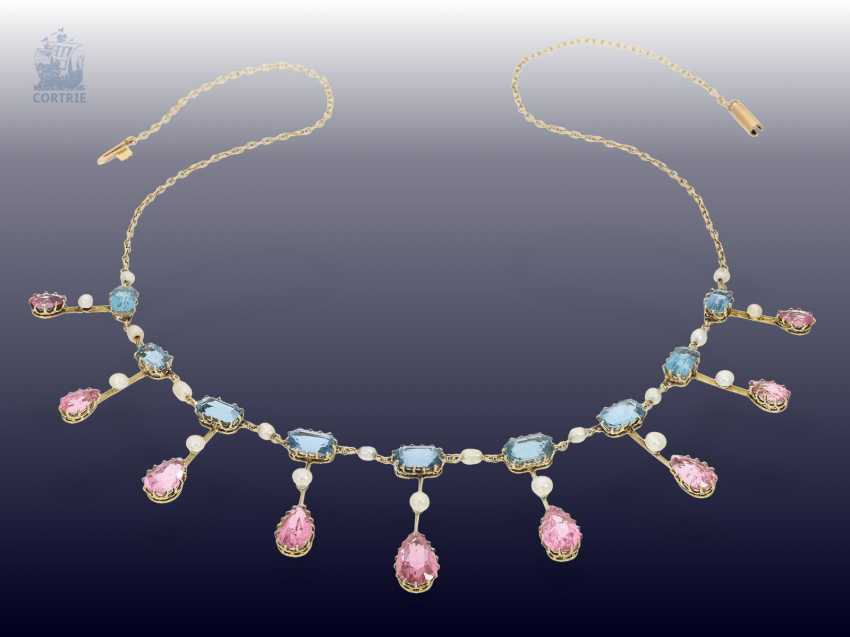 Chain/necklace: extremely fine, antique gold necklace wrought with coloured stones and seed pearls, from the art Nouveau period, Goldsmith & Silversmith Company, the court jeweller, London, CA. 1910 - photo 4