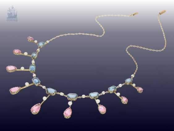 Chain/necklace: extremely fine, antique gold necklace wrought with coloured stones and seed pearls, from the art Nouveau period, Goldsmith & Silversmith Company, the court jeweller, London, CA. 1910 - photo 5
