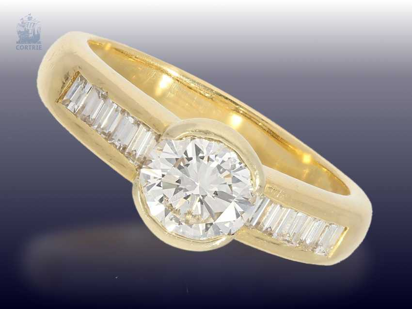 Ring: sound, classic diamond/diamond-and-gold forged ring, by hand, around 1.3 ct - photo 1