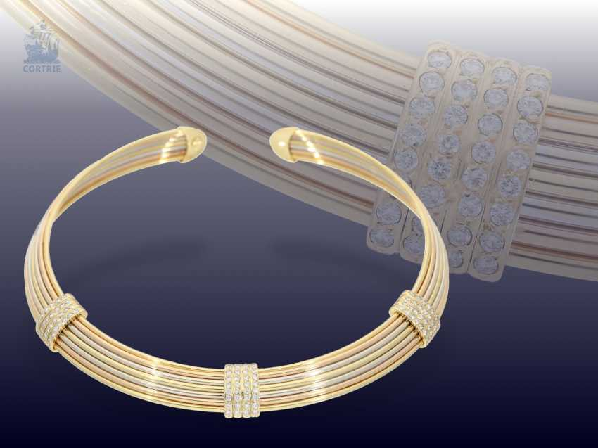 Collar: high-quality, modern choker with a brilliant stocking, Italian gold work, Tricolour, approx. 2ct diamonds wrought - photo 1