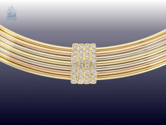 Collar: high-quality, modern choker with a brilliant stocking, Italian gold work, Tricolour, approx. 2ct diamonds wrought - photo 2