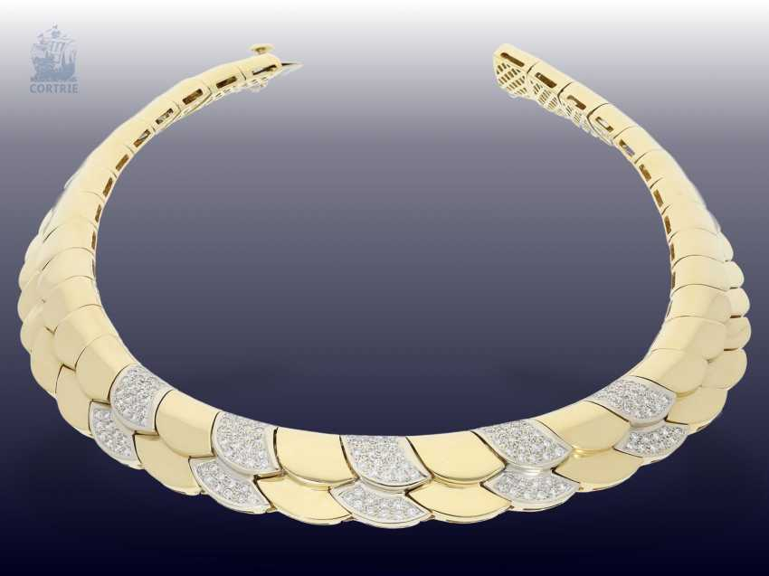 Necklace/Collier: elaborately crafted, exclusive brilliant necklace with approximately 1.5 ct of high quality diamonds, 18K yellow gold - photo 1
