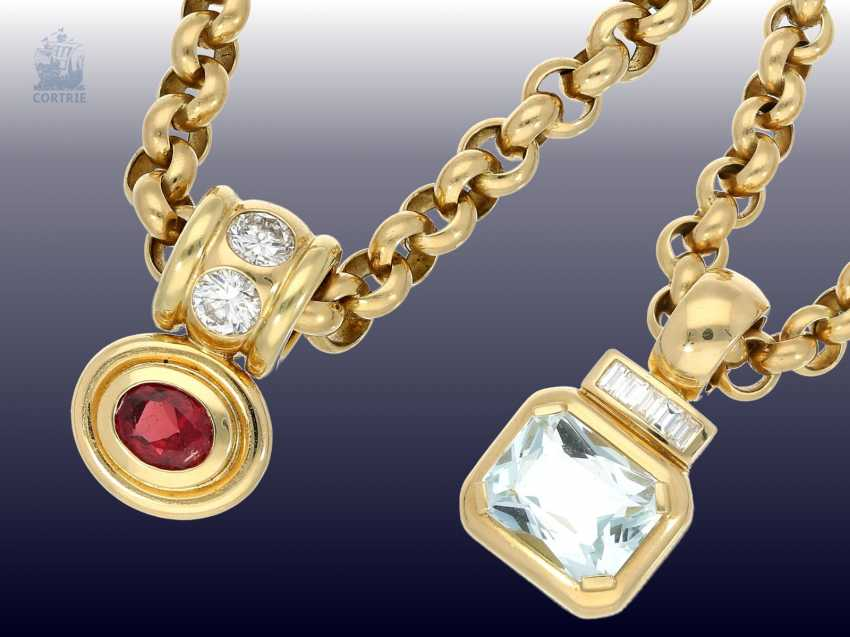 Pendant/chain: heavy, solid gold Belcher chain with 2 extremely high-grade ruby, aquamarine, brilliant-goldsmith's followers - photo 1