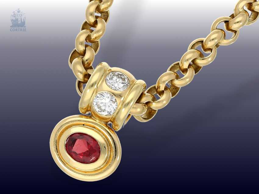 Pendant/chain: heavy, solid gold Belcher chain with 2 extremely high-grade ruby, aquamarine, brilliant-goldsmith's followers - photo 2