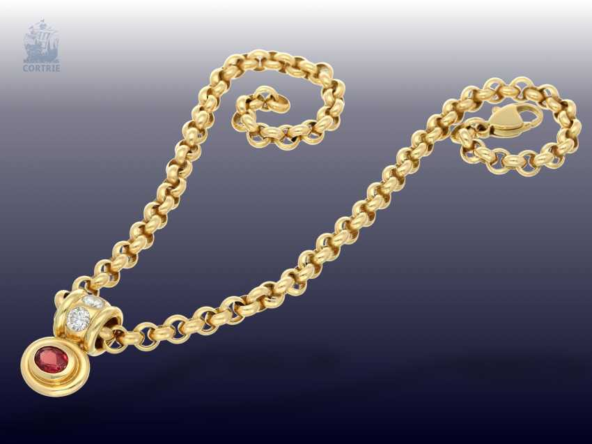 Pendant/chain: heavy, solid gold Belcher chain with 2 extremely high-grade ruby, aquamarine, brilliant-goldsmith's followers - photo 3