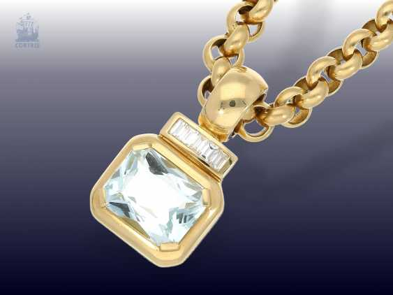 Pendant/chain: heavy, solid gold Belcher chain with 2 extremely high-grade ruby, aquamarine, brilliant-goldsmith's followers - photo 4