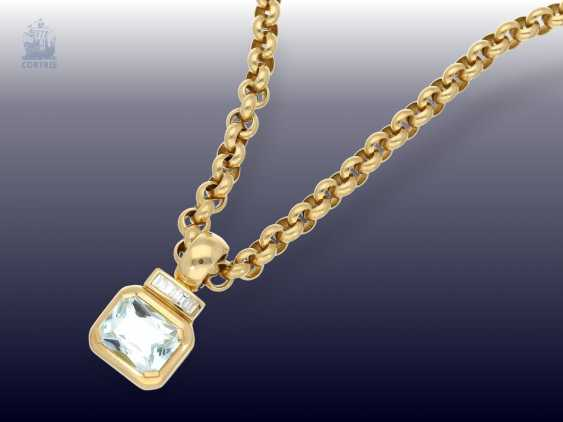 Pendant/chain: heavy, solid gold Belcher chain with 2 extremely high-grade ruby, aquamarine, brilliant-goldsmith's followers - photo 5