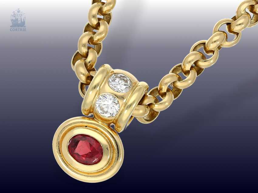 Pendant/chain: heavy, solid gold Belcher chain with 2 extremely high-grade ruby, aquamarine, brilliant-goldsmith's followers - photo 6