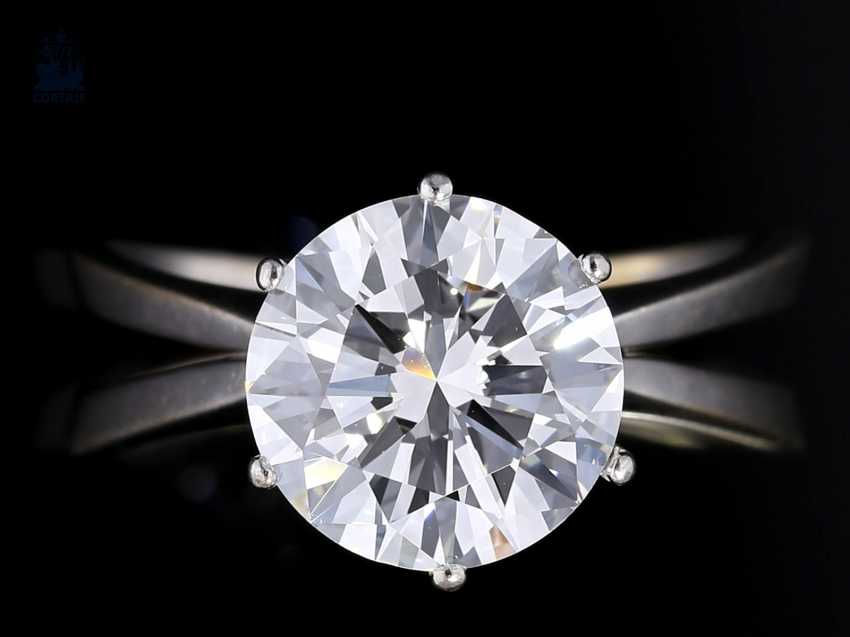 Ring: white, Golden, brilliant-solitaire ring with an extremely high-quality diamonds, 3,45 ct RiverD/loupe clean-VVS, with 2 certificates! - photo 1