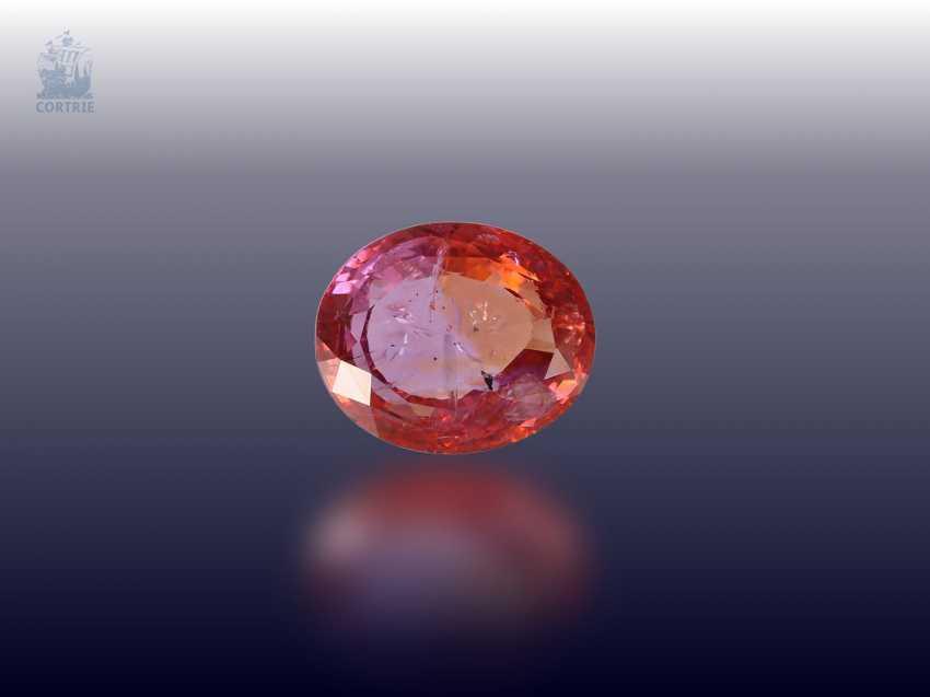 Sapphire: fine, untreated Padparadscha sapphire 3.57 ct, with original certificate, purchased in 1990 in Sri Lanka - photo 1
