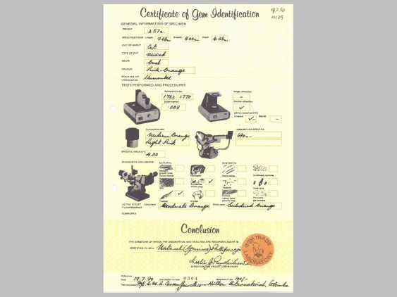 Sapphire: fine, untreated Padparadscha sapphire 3.57 ct, with original certificate, purchased in 1990 in Sri Lanka - photo 2