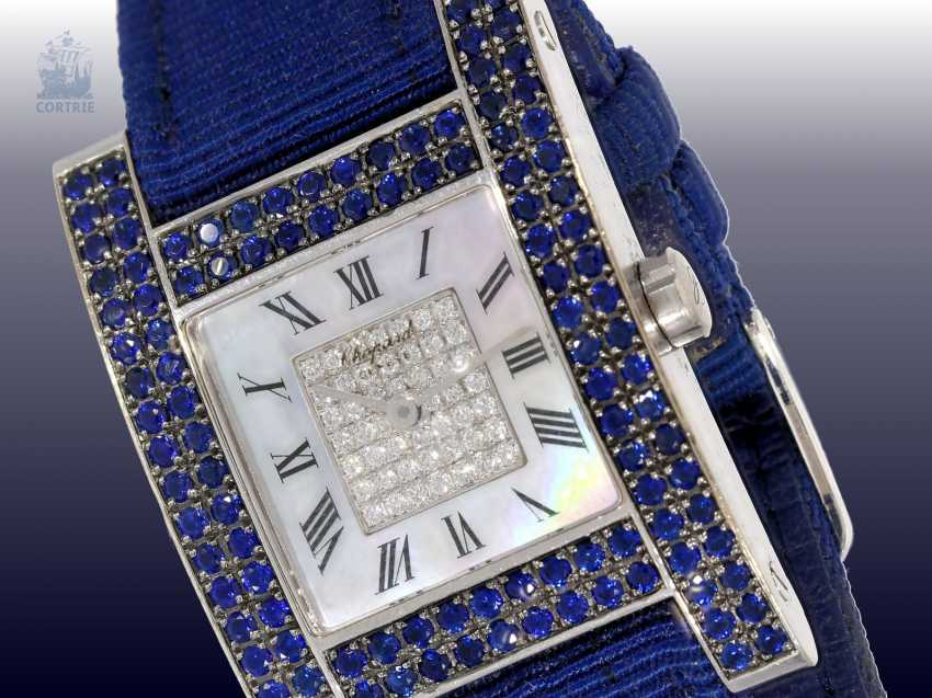 """Watch: luxurious and very rare Chopard ladies watch, Ref.13/6818-23 with diamond and sapphire trim, Chopard """"Your Hour Ladies"""" from 2001 with original certificate - photo 1"""