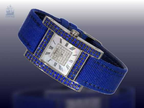 """Watch: luxurious and very rare Chopard ladies watch, Ref.13/6818-23 with diamond and sapphire trim, Chopard """"Your Hour Ladies"""" from 2001 with original certificate - photo 2"""