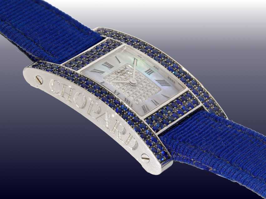 """Watch: luxurious and very rare Chopard ladies watch, Ref.13/6818-23 with diamond and sapphire trim, Chopard """"Your Hour Ladies"""" from 2001 with original certificate - photo 3"""