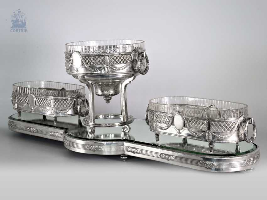 Panel attachment: exceptionally large, four-piece silver centerpiece, very ornate antique work, German, around 1900 - photo 1