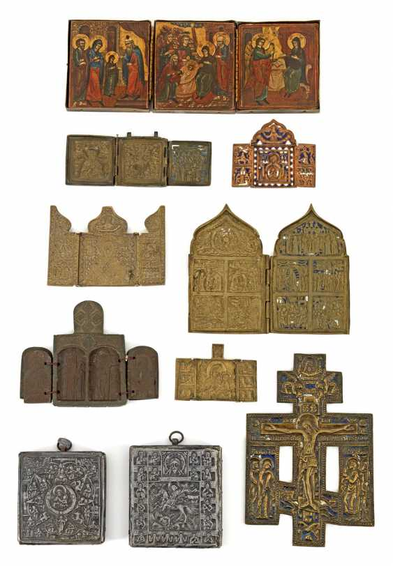 Collection of travel icons and Russian cross - photo 1