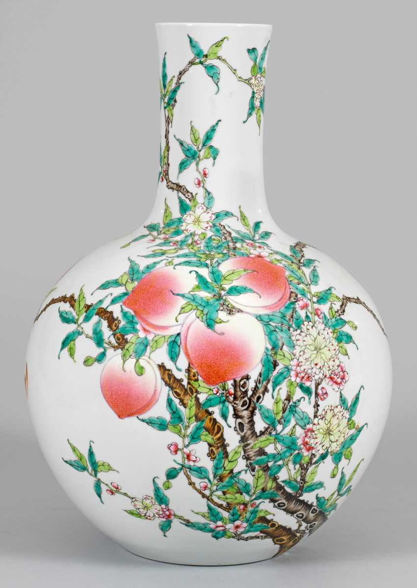 "Large bottle vase with ""peach decor"" - photo 1"