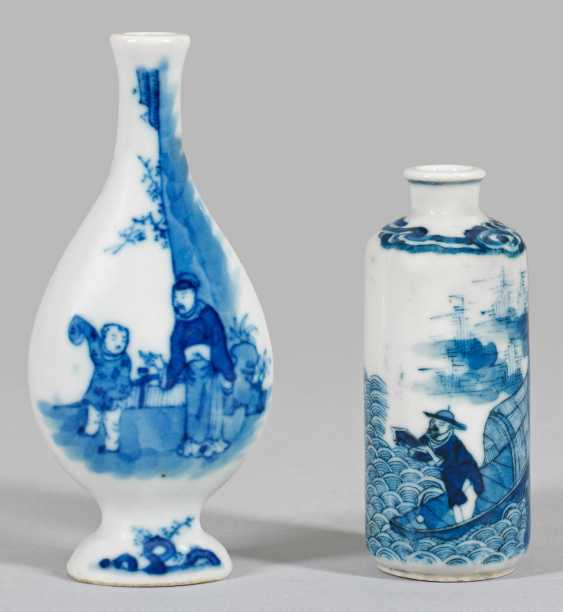 Two Blue And White Bottles - photo 1