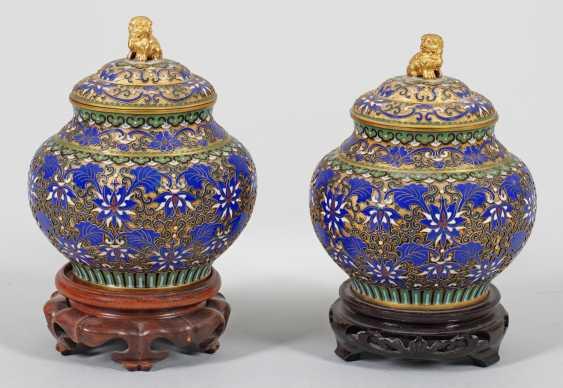 Pair of Cloisonné lid vases with Lotus decor - photo 1