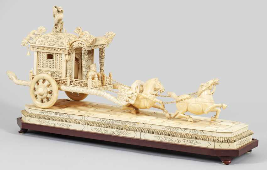 Magnificent ivory carving of a dragon wagon with - photo 1