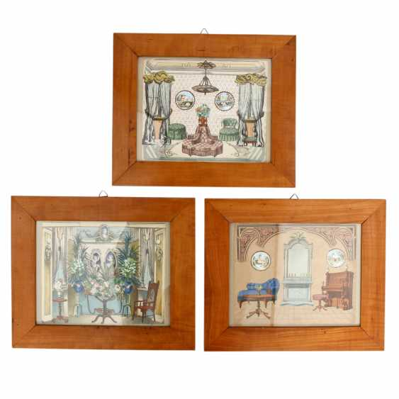 Three framed collages, the end of the 19th century. Century, - photo 1