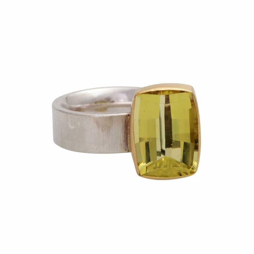 Moderner Ring mit Lemoncitrin, ca. 12 ct, - photo 1