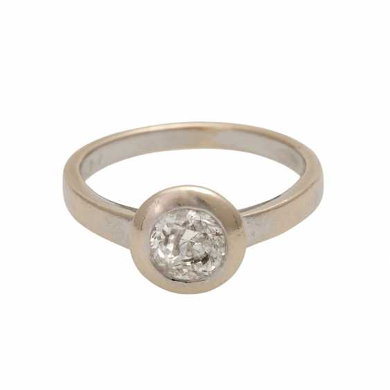 Solitaire ring with brilliant, approximately 1.07 ct (punz.), - photo 1
