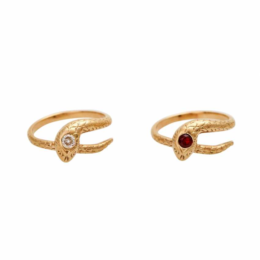 Snake ring, 2 - piece, - photo 1