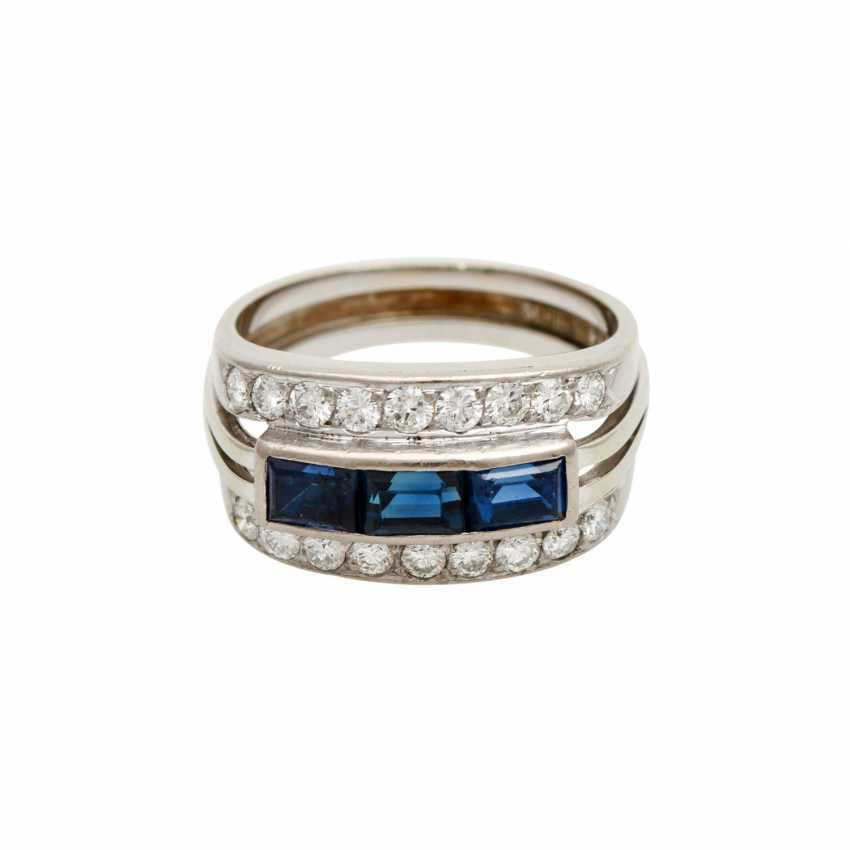 SHILLING ladies ring with 3 sapphires and 18 brilliant-cut diamonds - photo 1