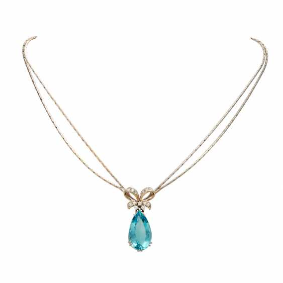 Necklace with aquamarine drop and brilliant-cut diamonds - photo 1