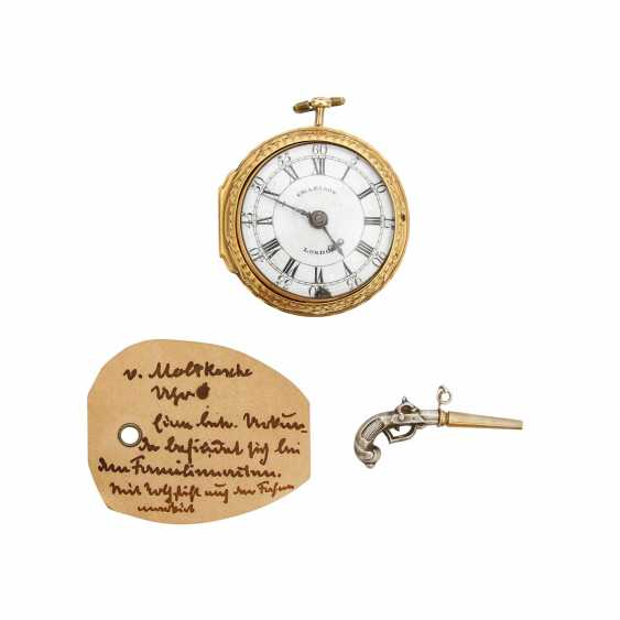 SPINDLE POCKET WATCH WITH A GOLDEN REPOUSSEÈ-TRANSFER CASING THE WIN - photo 1