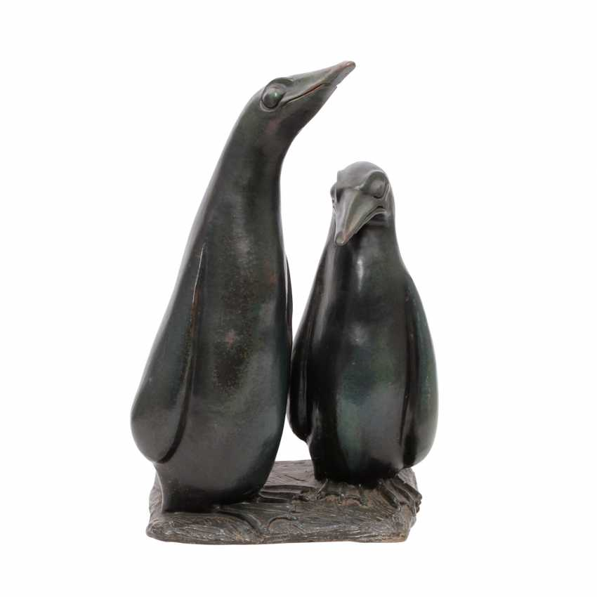 """U+R KEICHER/Donzdorf large animal figure group """"the penguins"""", 1. H. 20. Century - photo 1"""