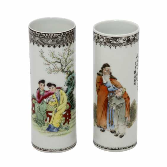 Two tube-shaped our vase vial. CHINA, 1. Half of the 20. Century - photo 1