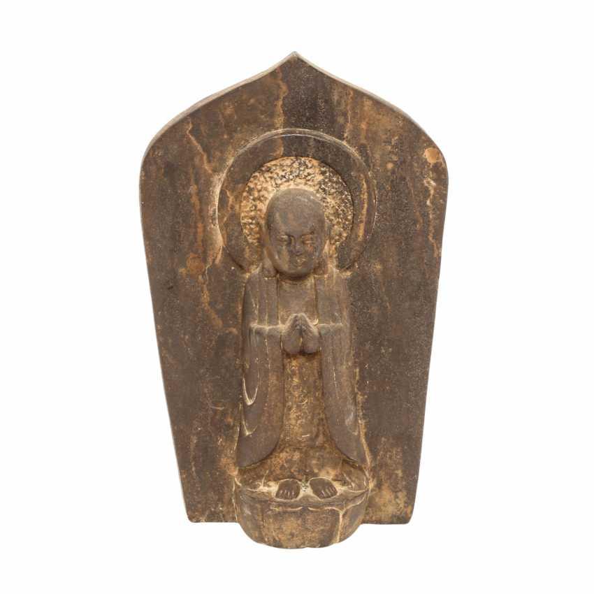 Stele of the Ananda made of dark brown stone. CHINA - photo 1