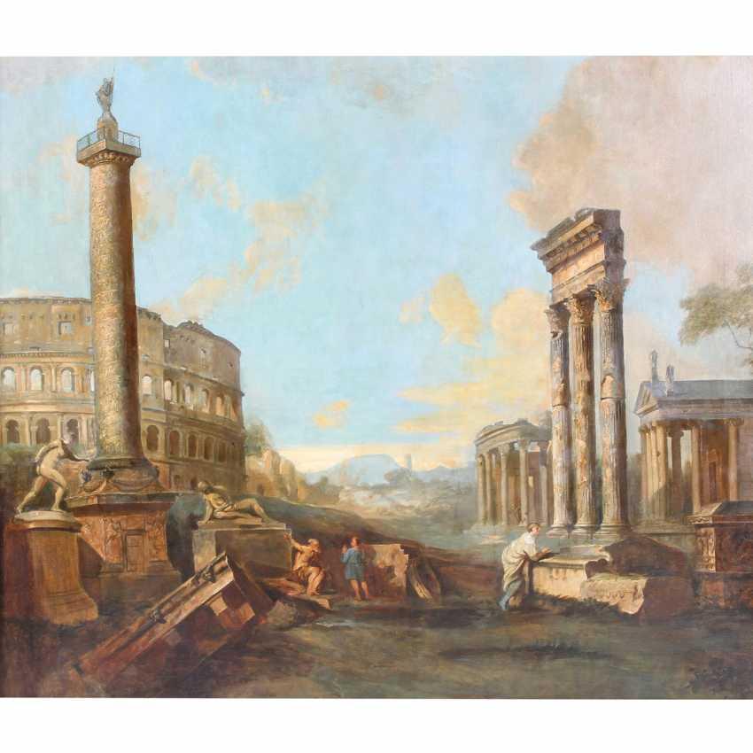 "PAINTER of the 19th century. Century, ""ROME, Roman Forum"", the ideal landscape of Ruins with the Colosseum and Trajan's column, - photo 1"