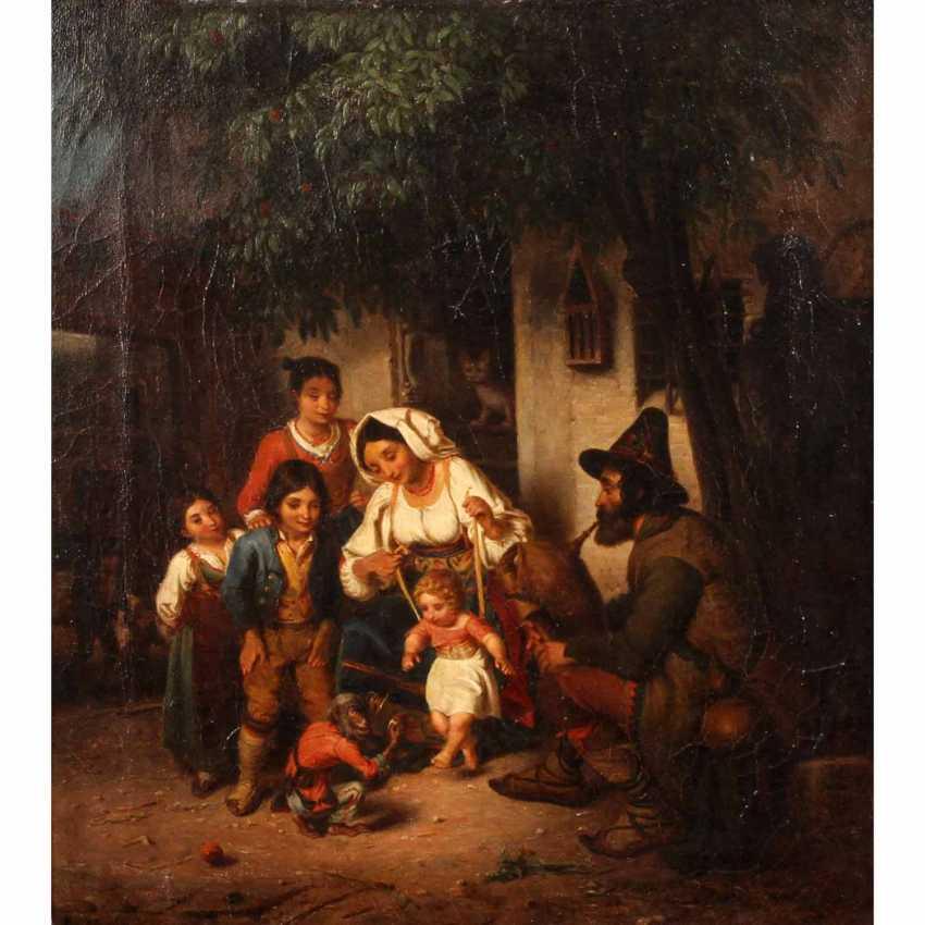 """MALER 19. Jahrhundert (undeutl. signiert Günther?), """"Italienische Familie vor dem Haus, mit einem spielenden Affen"""", - photo 1"""
