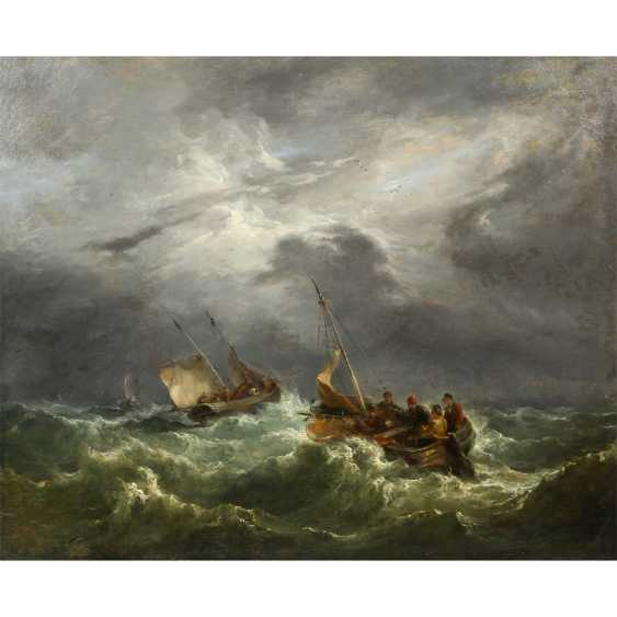 """TURNER, William, PERIMETER (W. T. London 1775-1851), """"fishing boats in a storm on the surging sea"""", - photo 1"""
