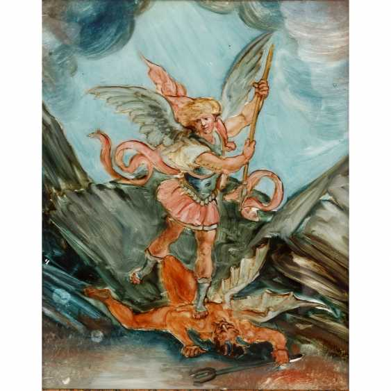"""BACKGROUND LASMALER Augsburg 18./19. Century, """"the Archangel Michael is victorious over Lucifer"""", - photo 1"""