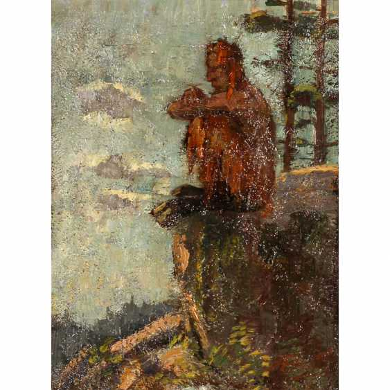 "PLEUER, HERMANN (1863-1911), ""Faun on a rocky outcrop sitting"", - photo 1"
