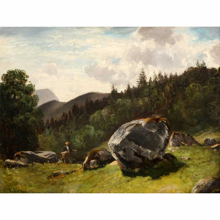 "VOLTZ, LUDWIG (1825-1911), ""hiker in rocky mountain landscape"", - photo 1"
