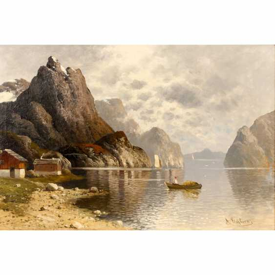 "EICHHORN, ALBERT (1811-1851), ""fjord landscape with houses and fishing boat"", - photo 1"