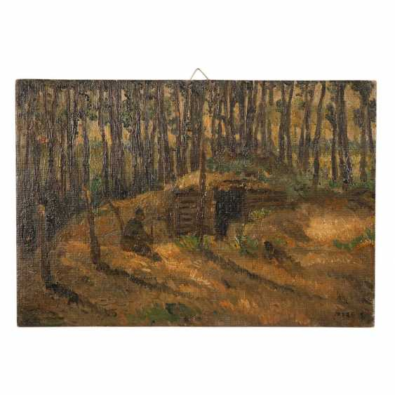 """FAURE, AMANDUS (Hamburg 1874-1931 Stuttgart), """"shelter in the forest in front of Ypasse"""", in the case of a long mark, - photo 1"""
