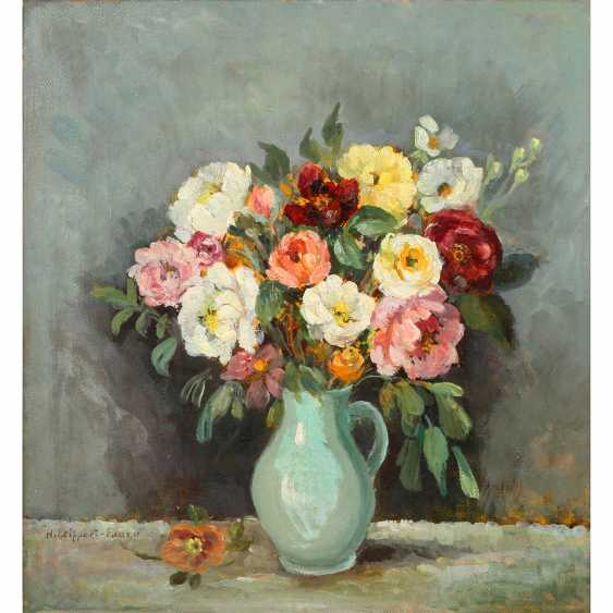 """FAURE-LEIPPERT, HERMIONE (Dresden, 1879-?, since 1911, with A. F. married), """"roses in a blue jug"""", - photo 1"""