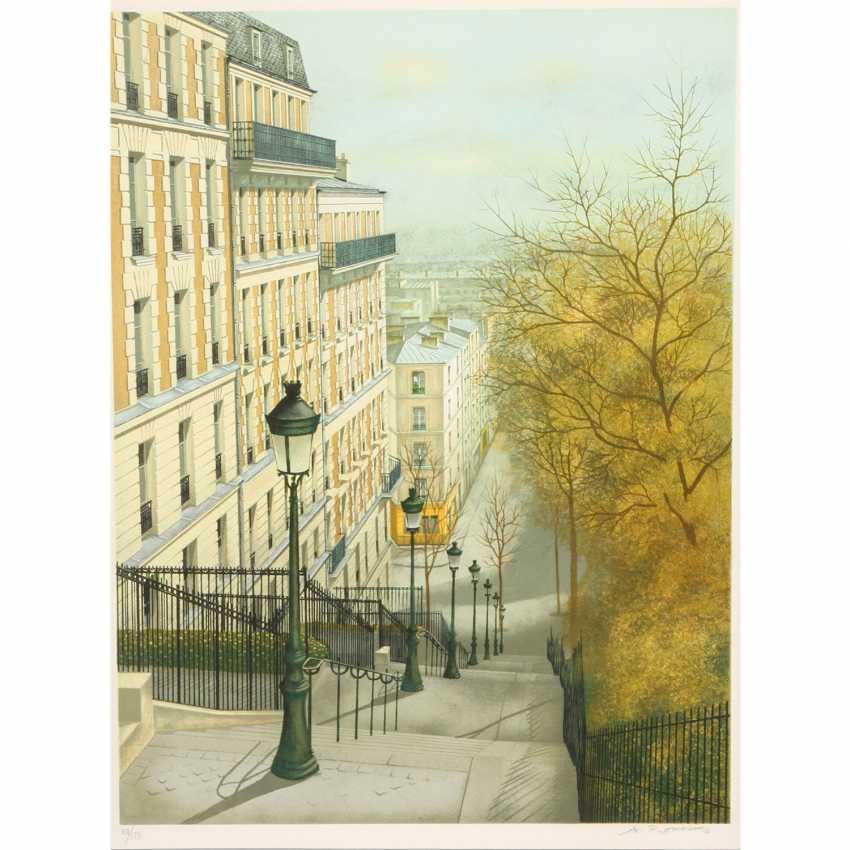 """RENOUX, ANDRÉ (Oran 1939-2002 Paris, France. Artists), """"Paris, Rue Maurice Utrillo in Montmartre"""", - photo 1"""