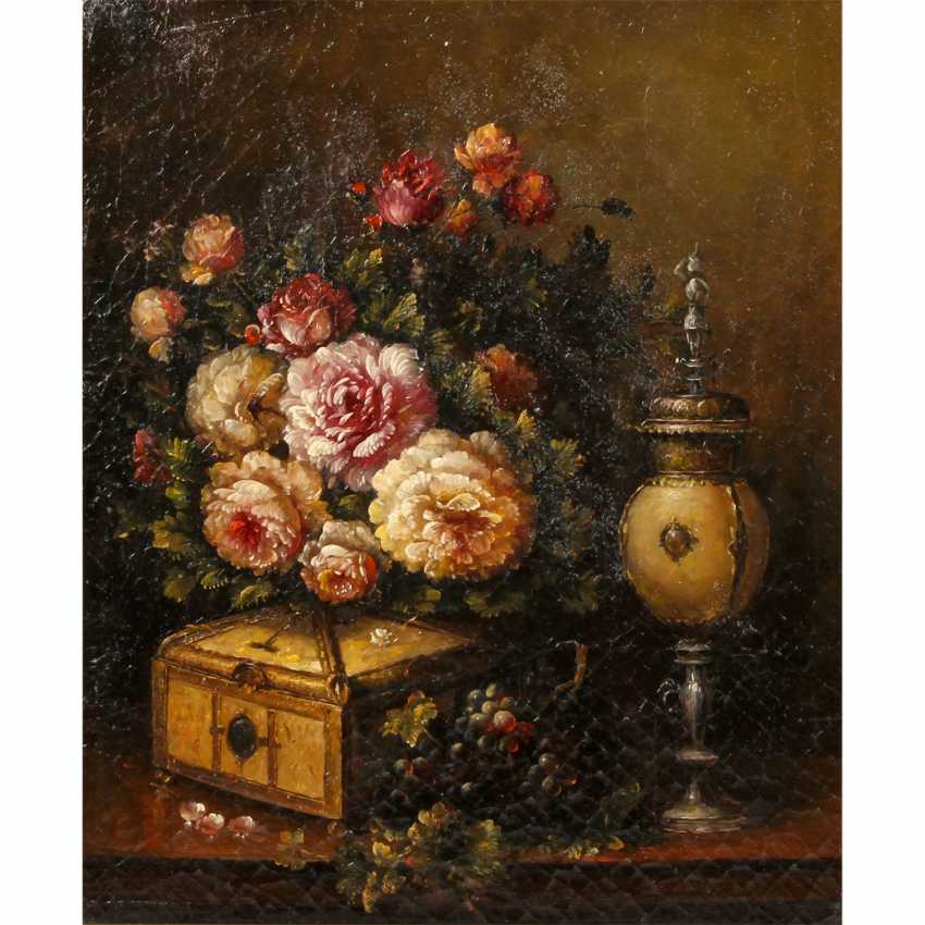 "PAINTER of the 19./20. Century, ""still life with bouquet of flowers and grapes, Cup, and casket"", - photo 1"