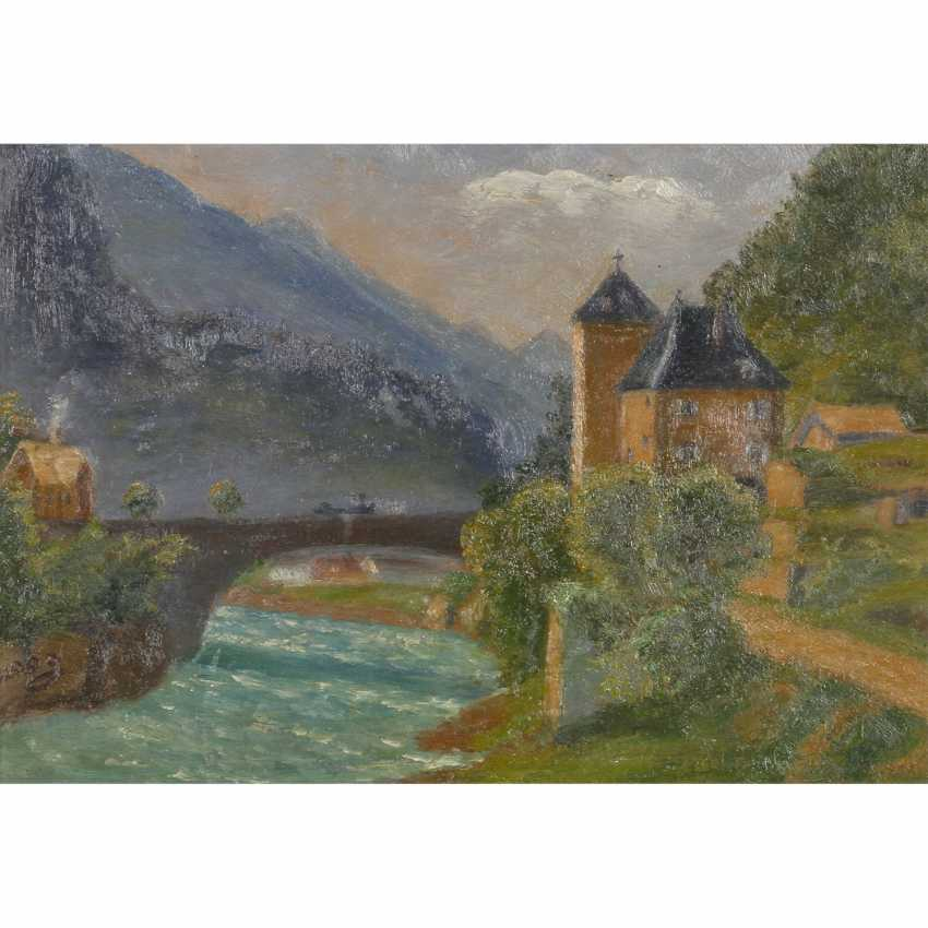 """LOOG (painter 19./20. Century), """"the castle and the customs station to an arched bridge over the river"""", - photo 1"""